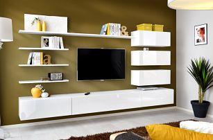 Obývací stěna ITALY, bílá matná/bílý lesk