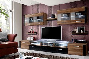 Obývací stěna ZOOM, švestka/švestka a černý lesk