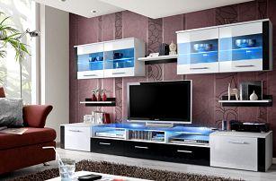 Obývací stěna ZOOM, bílá matná/bílý a černý lesk