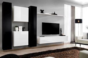 Obývací stěna SWITCH VI, černá a bílá matná/černý a bílý lesk