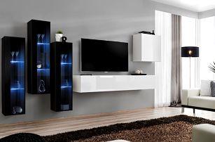 Obývací stěna SWITCH XIII, černá a bílá matná/černý a bílý lesk