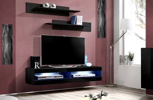 RTV stolek FLY 34, černá matná/černý lesk