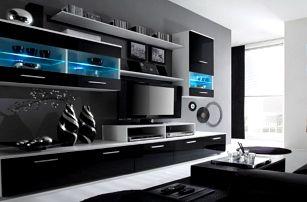 Obývací stěna Alfa (bílá/černá)