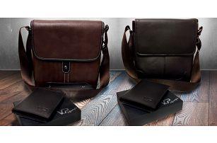 Set pánské tašky přes rameno a kožené peněženky