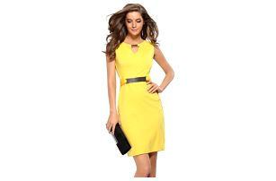 Úzké šaty s kovovými prvky - 4 barvy