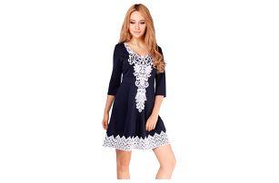 Romantické modré šaty s krajkou - 5 velikostí - velikost 6 - dodání do 2 dnů