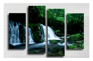 Bezrámový obraz rozdělen na 4 kusy - Kaskády - dodání do 2 dnů
