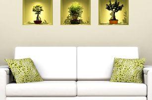 Sada 3 samolepek s 3D efektem Fanastick Bonsai Trees On Spot - doprava zdarma!