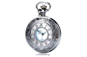 Kapesní hodinky ve stříbrné barvě s římskými čísly - dodání do 2 dnů