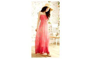 Dlouhé šaty s jemným vzorem - 2 barvy
