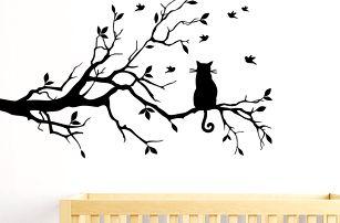 Samolepka na zeď - Kočka na větvičce
