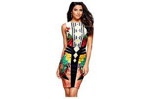 Módní pouzdrové šaty s pestrobarevným potiskem - 5 variant