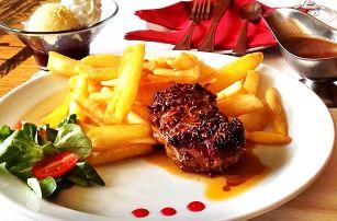 Steak ze pštrosího bio masa s přílohou a dezert