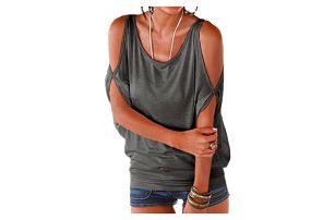Dámské plus size tričko s otvory na ramenou - 11 barev