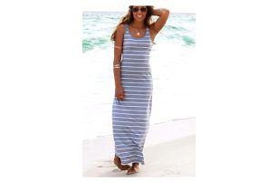 Jednoduché plážové maxi šaty s proužky - 3 barvy/velikost 2 - 6