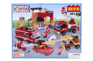 Stavebnice COGO Hasičská stanice - FIRE FIGHTER, 536 ks