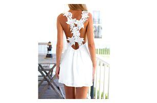 Bílé letní šaty s krajkovými květy na zádech - vel. 4 - dodání do 2 dnů