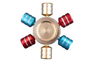 Antistresová hračka v podobě šestihranného Fidget spinneru - 4 kombinace barev