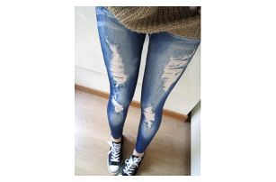 Dámské legíny s motivy potrhaných džínů - dodání do 2 dnů