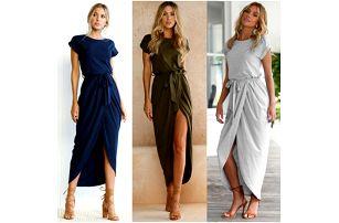 Dlouhé dámské šaty s rozparkem Diana