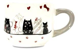 Krásný velký hrnek nebo miska na čajový sáček s motivem kočiček, originální dárek.