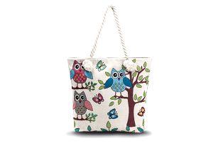 Fashion Icon taška Big Owls se sovičkami lněná