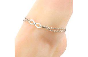 Dámský řetízek na nohu s motivem nekonečna - stříbrná barva - dodání do 2 dnů