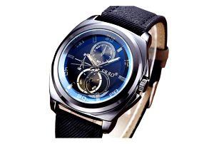 Luxusní pánské hodinky s tmavým páskem - dodání do 2 dnů