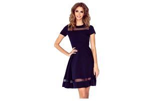 Elegantní áčkové šaty s transparentními pruhy Alani