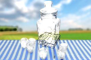 Nádoba na nápoje: s kohoutkem a 6 sklenicemi