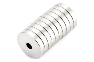 Neodymové magnety s dírkou 12 x 3 mm - 20 ks