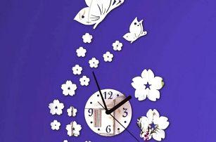 Designové hodiny s motýlky a kytičkami - samolepka na zeď