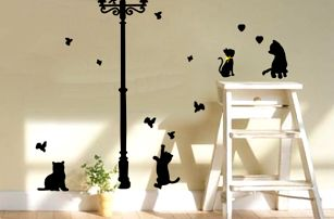 Samolepicí dekorace Černé kočky pod lampou