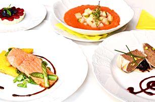 4chodové menu s gazpachem a lososem pro dva