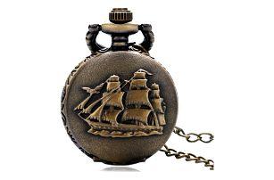 Vintage kapesní hodinky s plachetnicí - dodání do 2 dnů