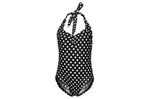 Dívčí jednodílné retro plavky s puntíky - Černá, vel. 4