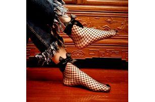 Síťované černé ponožky s mašlí - dodání do 2 dnů