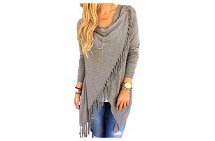 Dámský svetr na způsob ponča - třásně - šedá, velikost 4 - dodání do 2 dnů