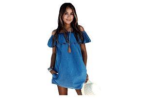 Džínové šaty s volánem - velikost č. 2