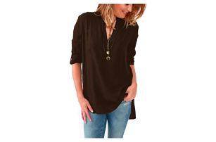 Pohodlné triko s ohnutými rukávy - hnědá - velikost č. 5 - dodání do 2 dnů