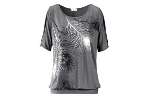 Dámské tričko s odhalenými rameny a peříčky - šedá, velikost 5