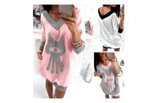 Volné mikinové šaty s potiskem Kitty