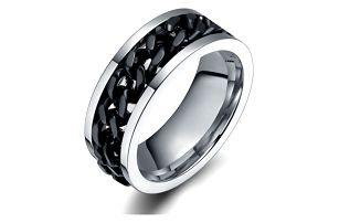 Titanový prsten s černým řetězem pro muže