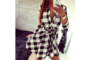 Elegantní kostkované šaty pro dámy - šedé, vel. 2