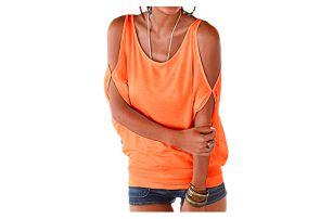 Dámské plus size tričko s otvory na ramenou - oranžová, velikost 2 - dodání do 2 dnů