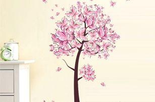 Rozkvetlý růžový strom - samolepka na zeď