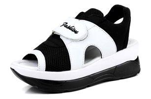 Dámské turistické sandále na suchý zip - Černobílá-24 7e2ff218ed