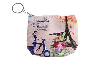 Peněženka Paříž mini na drobné mince modrá umělá kůže malá Retro 05