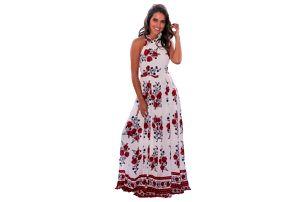 Květinové maxi šaty kolem krku