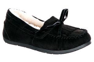 Fashion world Dámské mokasíny s třásněmi černé zimní boty